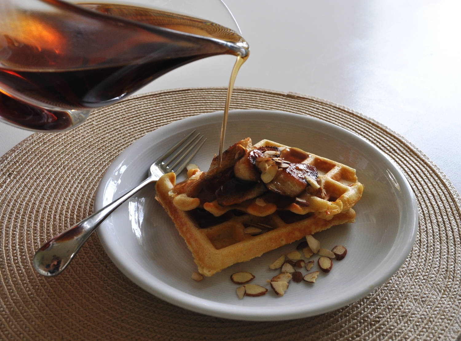 Buttermilk Waffles With Caramelized Bananas and Maple Syrup - The Male ...